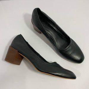 M4DE Black Stacked Block Heel Pumps Leather SZ 9.5